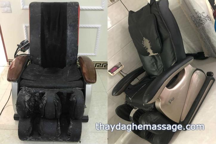 Bóc mánh khóe da ghế massage của Nhật may tại Việt Nam